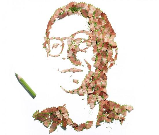 鉛筆の削りカスを使った肖像画