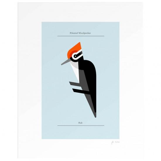 ミニマムな形と色で描かれた鳥のイラストです。