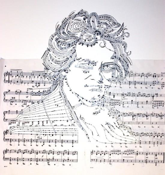 出没、こんな場所に!音符で描くベートーヴェンの肖像画。