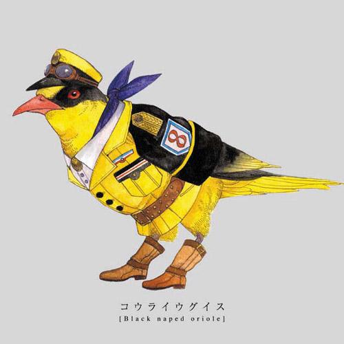 軍服を着た鳥たちのイラストです。