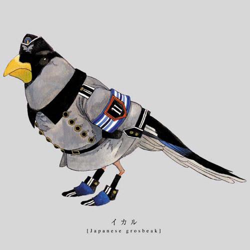 軍服を着た鳥のイラスト。