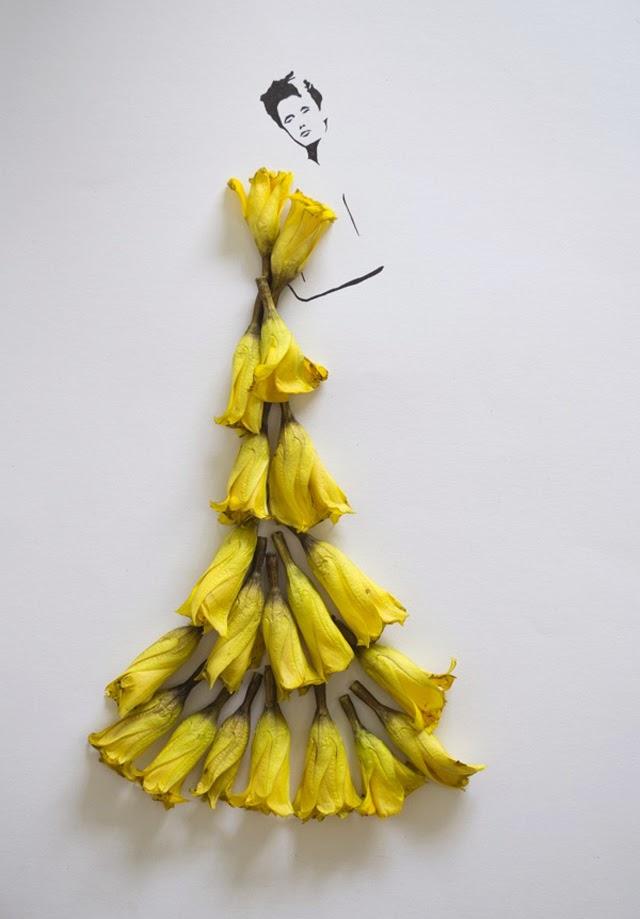 黄色い花弁のドレスを着た女性のイラスト