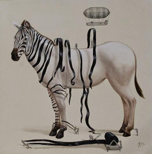 白い馬に黒い縞を取り付けているイラスト
