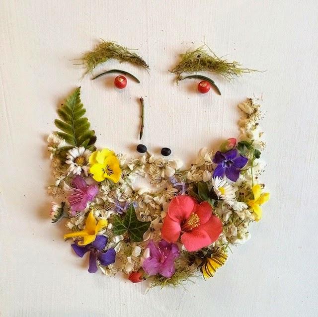 華やかな草花で彩られたヒゲもじゃな写真
