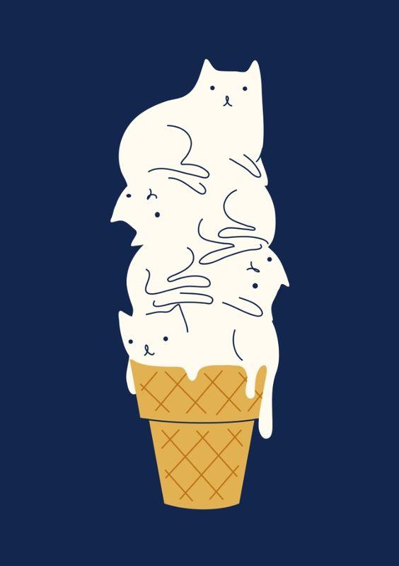 猫が4匹分のアイスクリームのイラスト