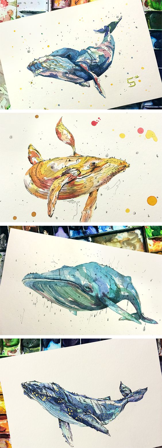 水彩で描かれたクジラのイラスト
