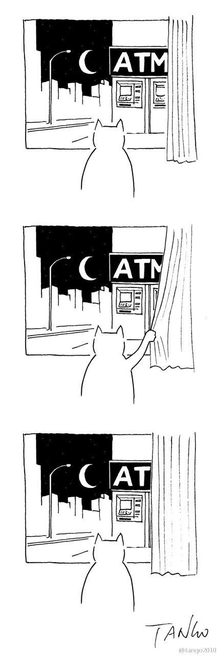 三日月を眺める猫のイラスト