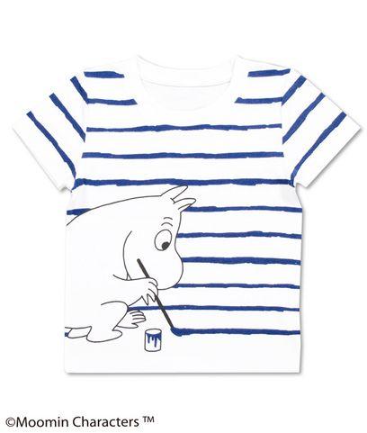 ムーミンが描く青いボーダーラインのTシャツ